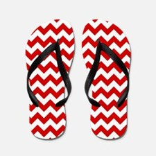 Red and White Chevron Pattern Flip Flops