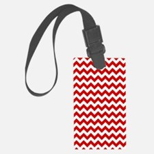 Red and White Chevron Pattern Luggage Tag