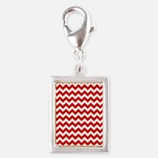 Red and White Chevron Patter Silver Portrait Charm