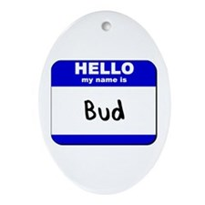 hello my name is bud  Oval Ornament