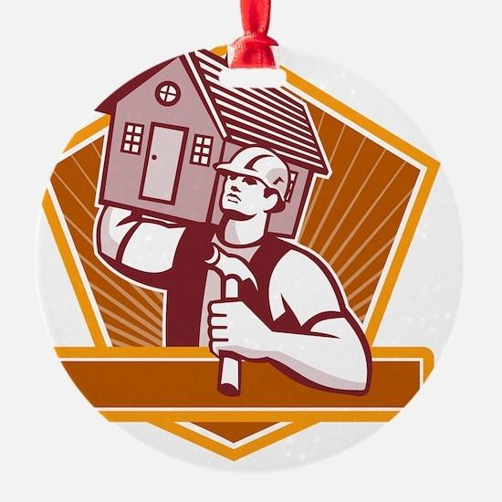 Builder Carpenter Carry House Retro Ornament
