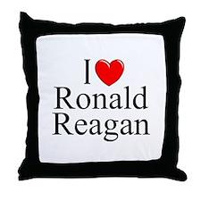 """I Love (Heart) Ronald Reagan"" Throw Pillow"