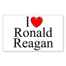 """I Love (Heart) Ronald Reagan"" Rectangle Decal"