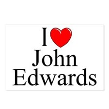 """I Love (Heart) John Edwards"" Postcards (Package o"