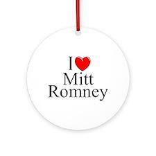 """I Love (Heart) Mitt Romney"" Ornament (Round)"