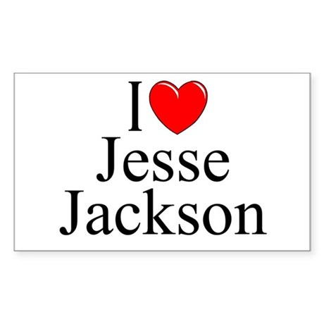"""I Love (Heart) Jesse Jackson"" Rectangle Sticker"