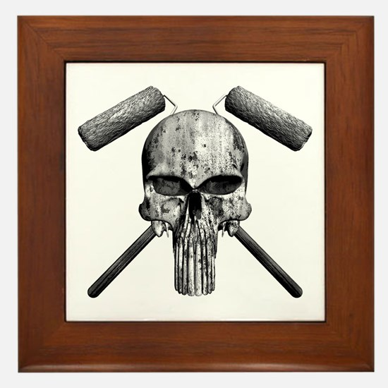 Paint Skull Framed Tile