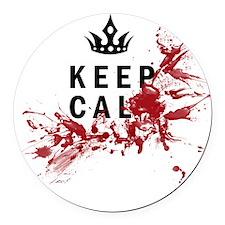Keep Calm Bloody Shirt Round Car Magnet