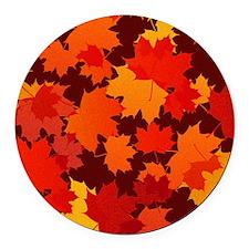Autumn Leaves Round Car Magnet