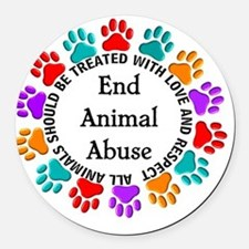 T-Fund 2 Animal Abuse Round Car Magnet
