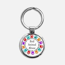 T-Fund 2 Animal Abuse Round Keychain