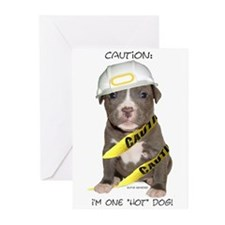 Pit Bull Terrier Puppy Greeting Cards (Package of