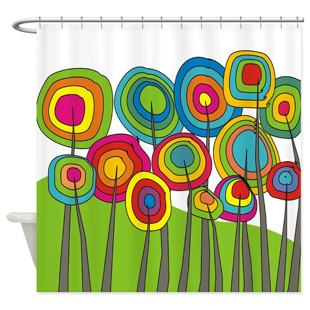 Funky Trees 10 Colorful Shower Curtain By GailGabel