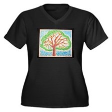 Oak Lea Pine Women's Plus Size V-Neck Dark T-Shirt