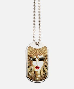 Golden Venice Carnival Mask Dog Tags