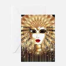 Golden Venice Carnival Mask Greeting Card