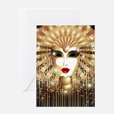 Golden Venice Carnival Mask Greeting Card