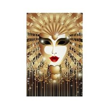 Golden Venice Carnival Mask Rectangle Magnet