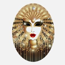 Golden Venice Carnival Mask Oval Ornament