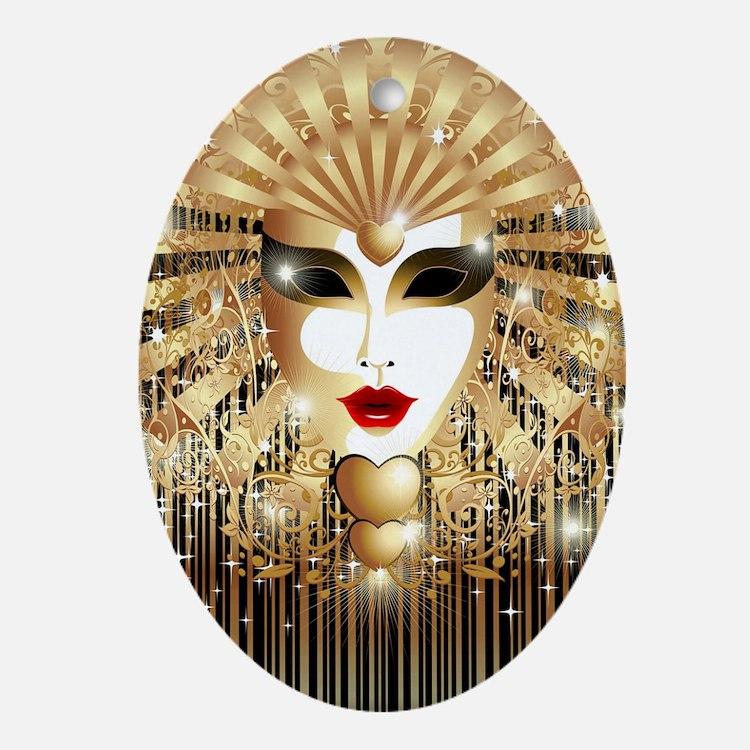 Golden Venice Carnival Mask Oval Ornament