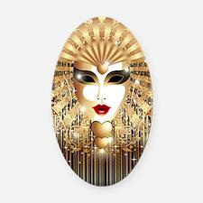 Golden Venice Carnival Mask Oval Car Magnet