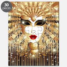 Golden Venice Carnival Mask Puzzle