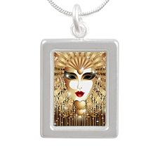 Golden Venice Carnival M Silver Portrait Necklace