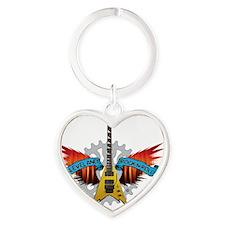CLE-Guitar Fire Wings Heart Keychain
