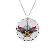CLE-Guitar Fire Wings Necklace