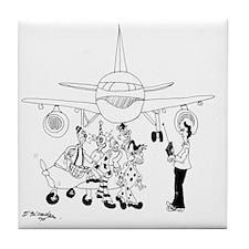 Clowns on a Plane Tile Coaster