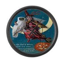 Vintage Halloween - Owl and Witch Large Wall Clock