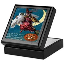 Vintage Halloween - Owl and Witch Keepsake Box
