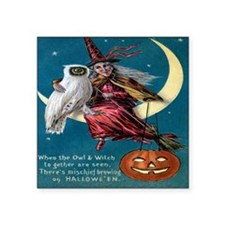 """Vintage Halloween - Owl and Square Sticker 3"""" x 3"""""""