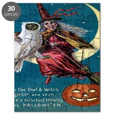 Vintage Halloween - Owl and Witch Puzzle