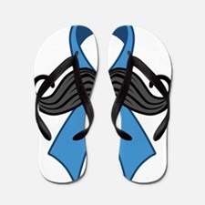 Prostate Awareness Ribbon Moustache Flip Flops