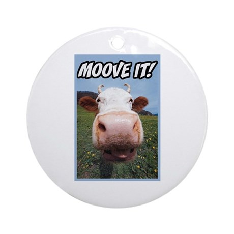 Moove It Cow Ornament (Round)