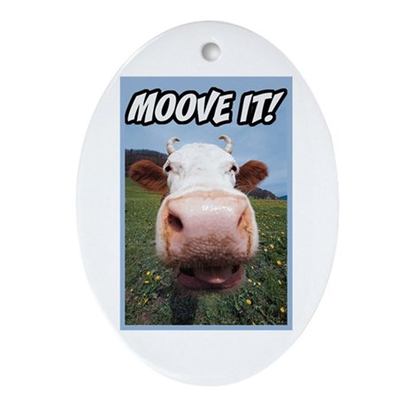 Moove It Cow Oval Ornament