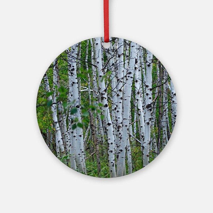Thick Aspen grove Round Ornament