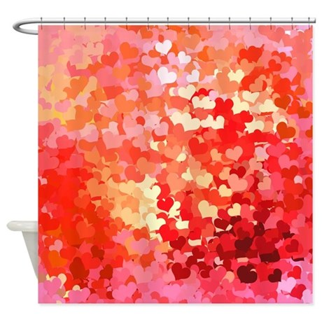 Pink Gold Confetti Hearts Shower Curtain By LeeHillerDesigns