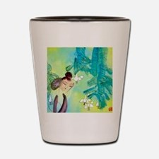 Green Motif Oriental Art Shot Glass