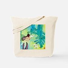 Green Motif Oriental Art Tote Bag