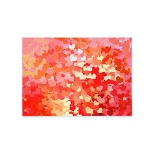 Pink Gold Confetti Hearts 5'x7'Area Rug