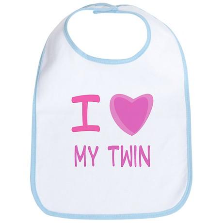 Pink I Heart (Love) My Twin Bib