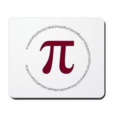 100 Digits of Pi - Circle Mousepad