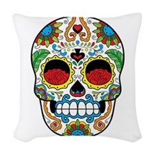 White Sugar Skull With Roses In Woven Throw Pillow