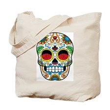 White Sugar Skull with Roses in Eye Sockets Tote B