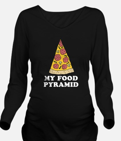 Pizza Food Pyramid Long Sleeve Maternity T-Shirt