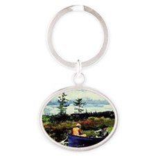 Winslow Homer - The Blue Boat Oval Keychain