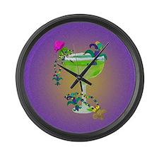 mardi gras margarita Large Wall Clock