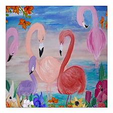 """flamingo garden Square Car Magnet 3"""" x 3"""""""